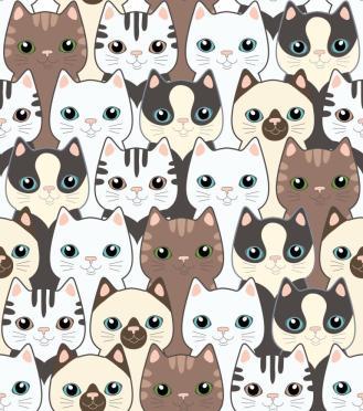 Funny cartoon cats. Seamless pattern