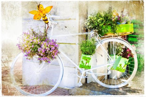 charming street decoration with bike and flowers, artistic pictu