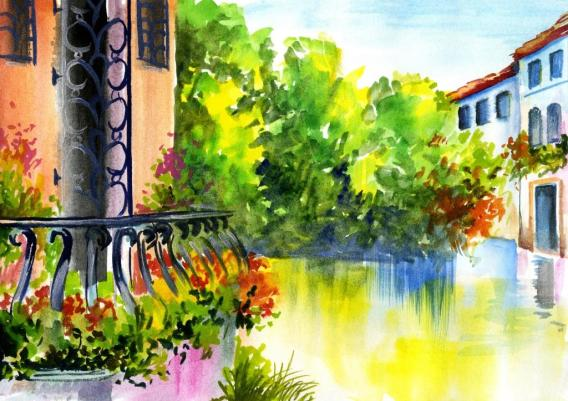 watercolor painting - flowers near the house