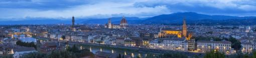 wide panorama of twilight above Florence in Italy