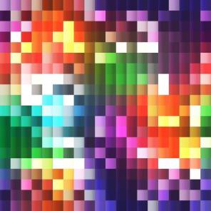 plastic 3D mosaic with rainbow bright colors