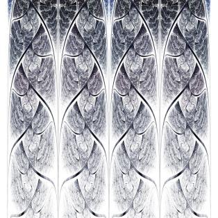 Symmetrical blue fractal flower, digital logarithm