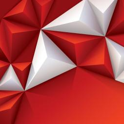 Red and white geometric background.