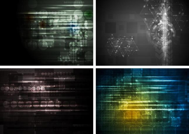Set of abstract bright tech design set. Raster backgrounds