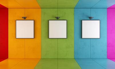 Colorful modern art gallery
