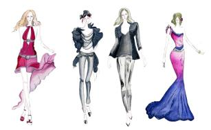 four fashion sketches