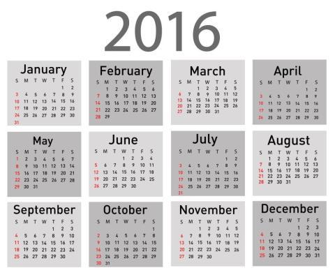 Vector illustration of a modern and simple calendar 2016