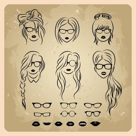 girls faces with hair, sunglasses and shape of the lips