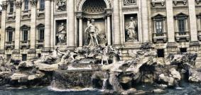 Panoramic view of Trevi Fountain in Rome