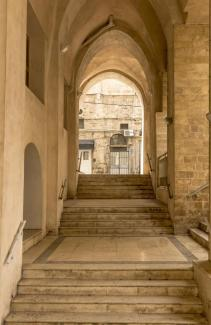 Stone arches and gallery in old Jaffa