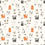 Funny cartoon cats. Seamless pattern