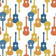 Music seamless patter with guitars vector illustration