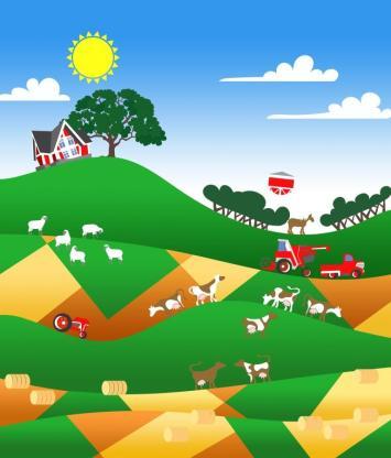 illustration of a farmland