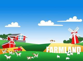 Illustration of farm landscape with text