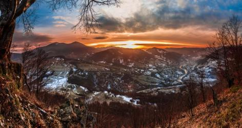 colorful winter sunrise in the Carpathian mountains