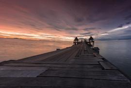 Twilight sunset wood bridge at Djittabhawan Temple