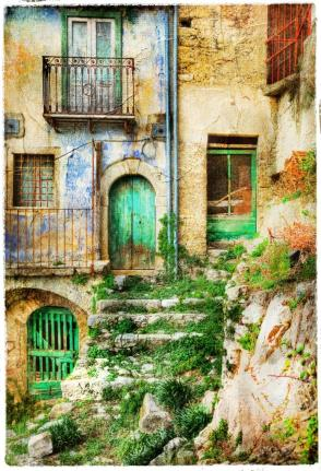 old streets of medieval villages of Italy, artistic picture