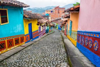 Colorful Cobblestone Street